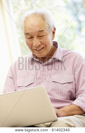 Senior Asian man using laptop