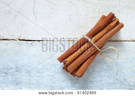 Cinnamon sticks tied with a natural rope