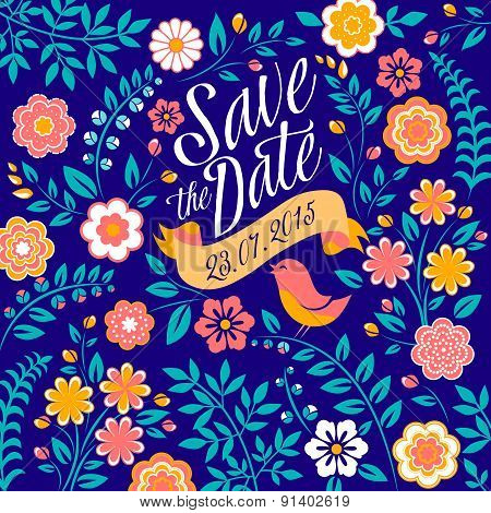 Flower wedding invitation card, save the date, greeting