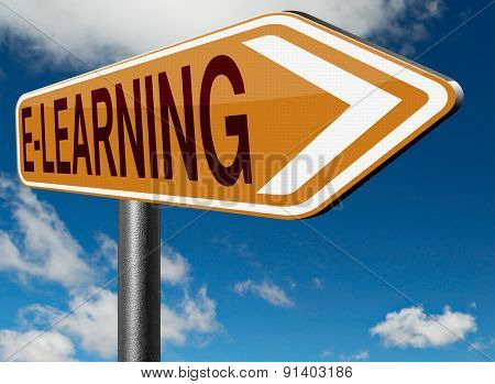 e-learning online education internet learning in open school or university virtual elearning