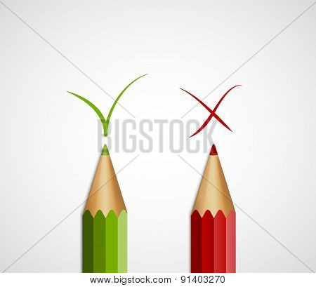 Pencil green tick and red cross. With Yes And No. Vector Illustration.