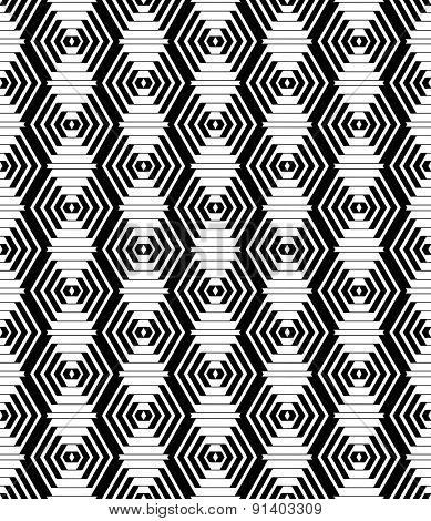 Diamonds and hexagons pattern. Seamless geometric texture. Vector art.