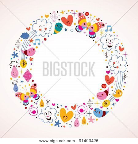 Butterflies, clouds, flowers, diamonds, raindrops cartoon circle frame