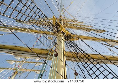 Ropes On The Mast Of A Sailboat