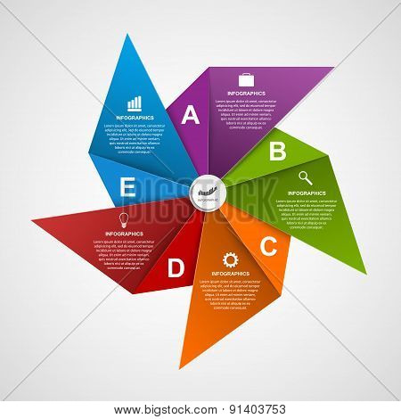 Abstract options infographics design template in the shape of air pinwheel. Vector Illustration.