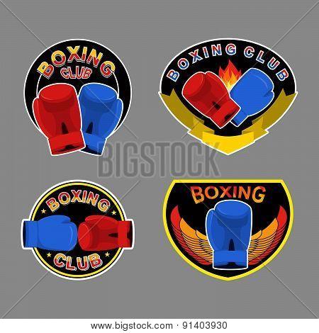Set boxing emblem. Vector illustration. Boxing gloves in embem.