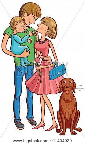 Happy Family With A Baby And Dog.