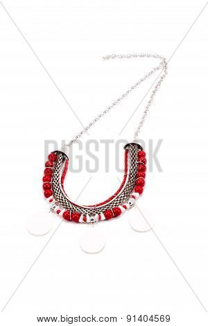 Beautiful female necklace in red colors