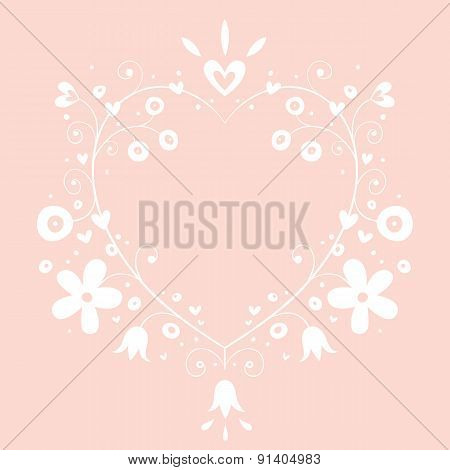 romantic heart banner frame background with copy space