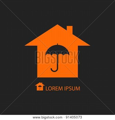 Orange house with umbrella