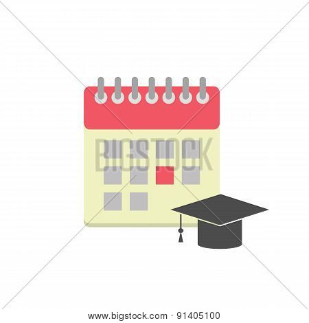 Flat style calendar icon with graduation hat