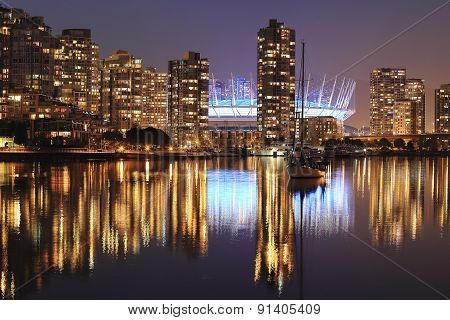Night Cityscape of Vancouver, BC Canada