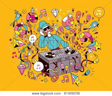 DJ playing mixing music on vinyl turntable cartoon illustration