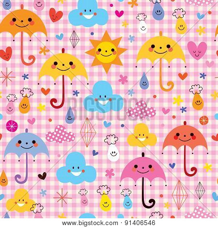 cute umbrellas raindrops flowers clouds characters seamless pattern