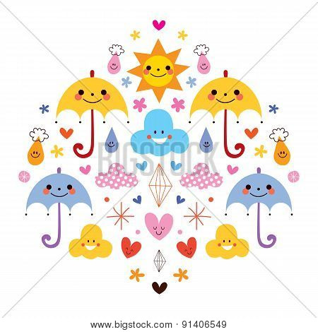 cute umbrellas raindrops flowers clouds characters vector illustration