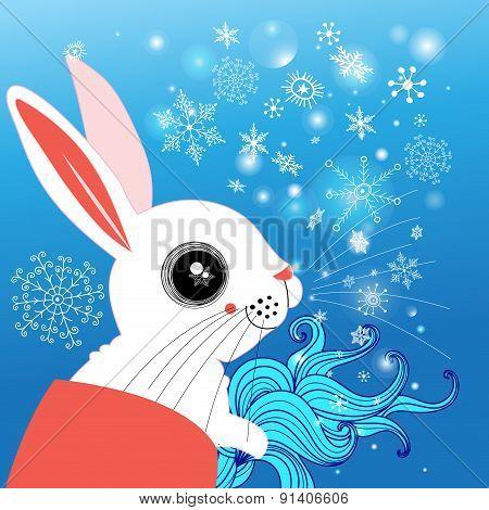 Winter Portrait Of A Hare