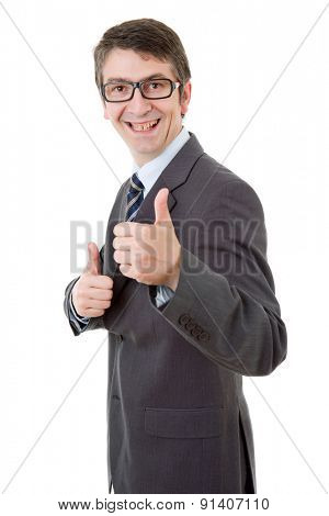 young business man going thumbs up, isolated on white