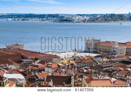 Aerial View Of Commerce Square - Praca Do Commercio In Lisbon - Portugal