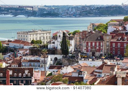 Lisbon Rooftop From Sao Vicente De Fora Church  In Portugal