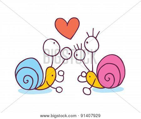 Snails In Love Cartoon Illustration