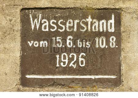 High-water mark Elbe 1926
