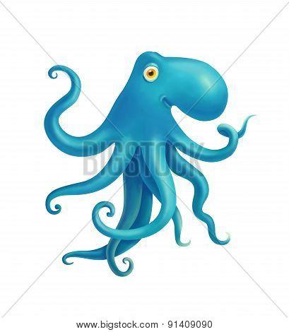 blue octopus illustration