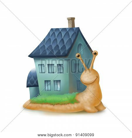 illustration with snail personage and house