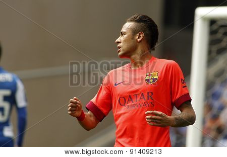 BARCELONA - APRIL, 25: Neymar da Silva of FC Barcelona during a Spanish League match against RCD Espanyol at the Power8 stadium on April 25, 2015 in Barcelona, Spain