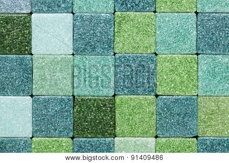 background of green frosty glass mosaic tiles