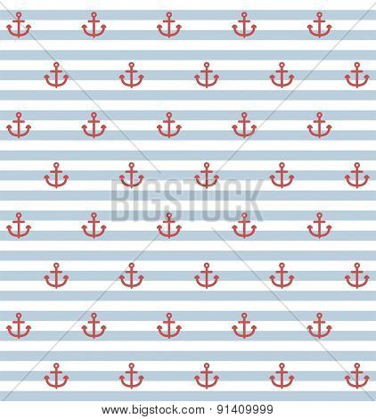 seamless pattern with small anchors on striped background