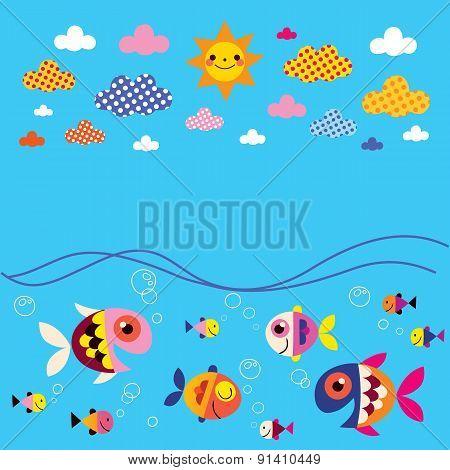 fish, sea, clouds, sun summer background