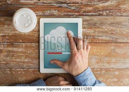 business, education, cloud computing, people and technology concept - close up of male hands with tablet pc computer transferring data