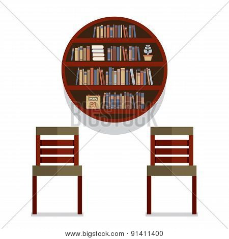 Chairs With Round Bookshelf On Wall.