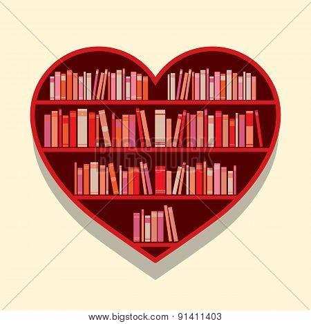 Heart Shape Bookshelf On Wall.