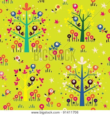 birds in the trees nature forest seamless pattern