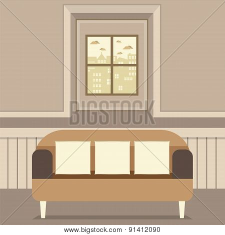 Empty Brown Couch In Front Of Window.
