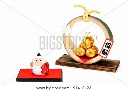 Figurine Of Monkey And Three Golden Straw Rice Bags.