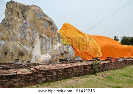 Wat Lokayasutharam Is Temple Of Reclining Buddha In Ayutthaya
