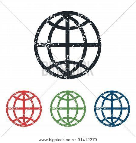 Globe grunge icon set