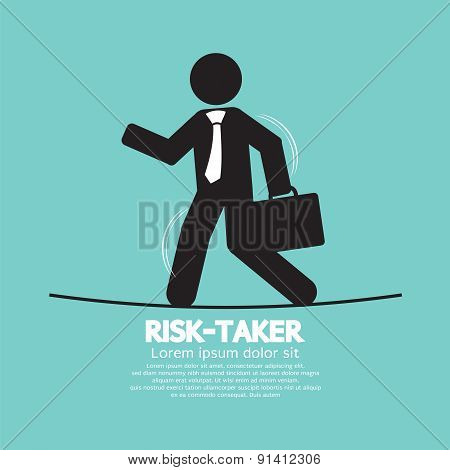Businessman Walk On A Line Rask-taker Concept.