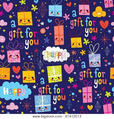 gift wrapping paper cartoon seamless pattern