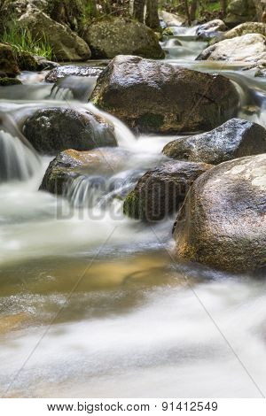 Nature landscape with river flowing waters
