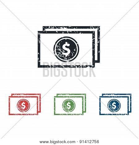 Dollar bill grunge icon set