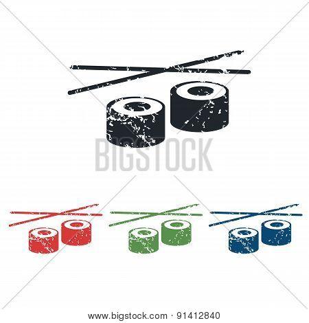 Sushi grunge icon set
