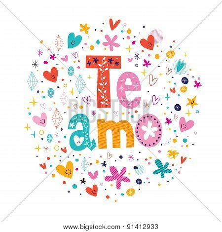 Te Amo - spanish I love you lettering romantic design
