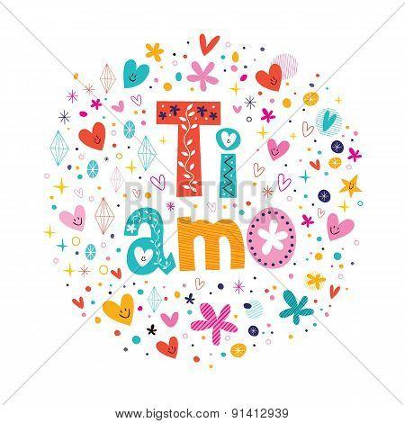 Ti amo I love you in Italian hand lettering romantic design