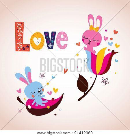 Cute bunnies in love Valentine's day retro card