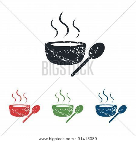 Hot soup grunge icon set
