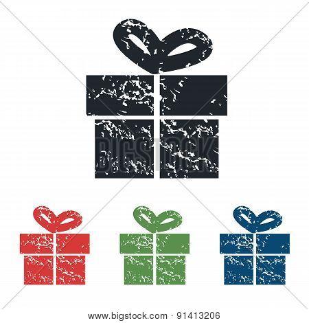 Gift box grunge icon set