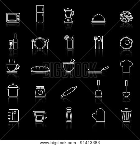 Kitchen Line Icons With Reflect On Black